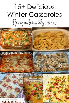 Delicious Winter Casserole Ideas :: During the winter time, it is nice toserve delicious comfort food that is easy to make like casseroles. Many of these dishes are also freezer friendly so you can prepare ahead of time and cook when it is convenient. I have put together over 15 casseroles that I think would be great for winter