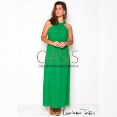 Vestido longo verde esmeralda!   Luciana Tostes