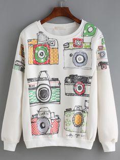Camera Print White Sweatshirt 13.33