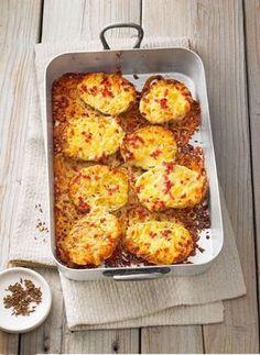 Gebackene Käsekartoffeln mit Speck, Käse und Sahne