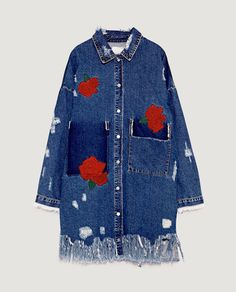 Image 6 of EMBROIDERED DENIM DUSTER JACKET from Zara