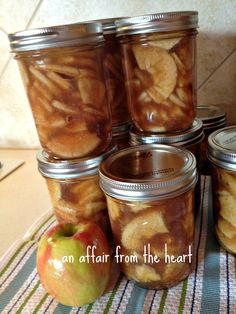 An Affair From the Heart - Apple Pie Filling in a JarThis year our friends, Don and Gerry had a great apple crop.They are so sweet to share with us!Usually when I put away apples, I just freeze them,this year I wanted to try something different.I wanted to can them!So I found a recipe onallrecipes.com, and adapted it to my liking.I started learning to can last year, when my friend, Betsy and I canned spaghetti sauce.I then tried my hand at a berry jam and peach ginger…