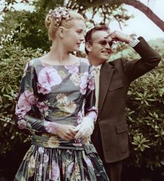 American actress Grace Kelly meeting Prince Rainier of Monaco, her future husband. 1955.
