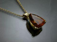 14K Yellow Gold Pendant with a pear shaped cognac citrine.