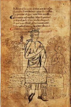 Hoja 45v del manuscrito O de la BNE del Libro de Alexandre (1ª mitad del siglo XIII), códice del S. Dibujo a plumilla que representa al rey rodeado de soldados con la cota de malla.
