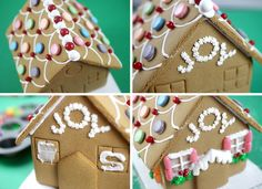 Gingerbread house being decorated