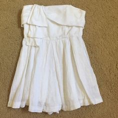 BCBGeneration White Linen Romper Sz 4 Super cute BCBGeneration white romper. It's a size 4. It zips up the back and is strapless. The perfect romper for summer! It is in good condition! BCBGeneration Other