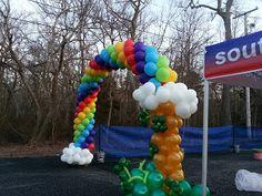 Shamrocks for Sandy    Rainbow Balloon Arch, pot of gold balloon, rainbow sculpture, Celebration Creations