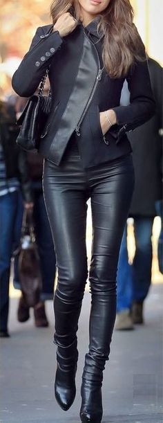 Black leather pants/jacket outfit