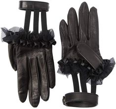 Ruffled Leather Gloves W/ Wrist Strap