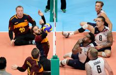 Barbaros Sayilir of Germany in action during the Sitting Volleyball mach between USA and Germany on day 4 of the Rio 2016 Paralympic Games at the Riocentro Pavilion 6 on September 11, 2016 in Rio de Janeiro, Brazil.
