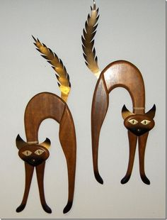 Masketeers Mid Century 1964 Teak Brass Wall Cat Hangings