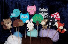 Woodland Wildlife Forest Table Decorations ... MADE TO ORDER ... 6 Paper Pieced centerpieces  ... choose your combo ... owl bunny skunk fox