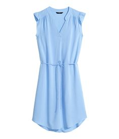 Short blue V-neck dress with butterfly sleeves & waist tie. | H&M Pastels