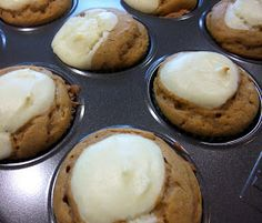 Aunt Peg's Recipe Box: Pumpkin Cream Cheese Cupcakes--made with cake mix