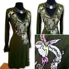 JWLA Johnny Was Green Boho Dress Medium $39 Pre-Loved Free Shipping!