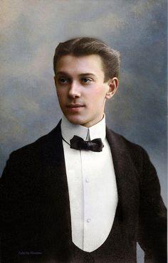 A colourised photograph of Vaslav Nijinsky (1890-1950).