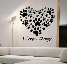 I Love Dogs Heart Wall Decal Sticker Art Decor Bedroom Design Mural art dog lover animals home decor room decor