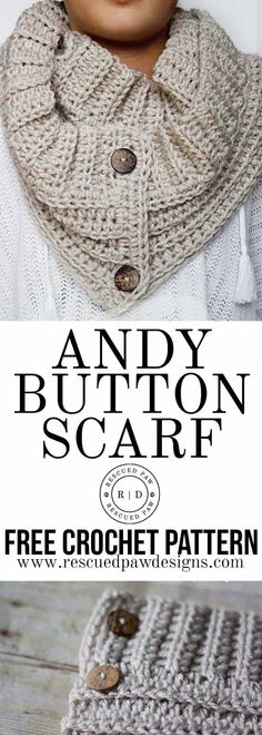 The Andy Button Scarf Pattern  || FREE CROCHET PATTERN || by Rescued Paw Designs. Click to Read or Pin and Save for Later!