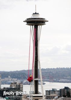 Angry Birds Space invades the Seattle Space Needle with T-Mobile  Awesome PR stunt for a pretty Awesome game so far.