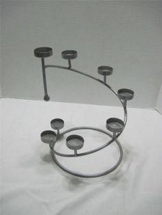 Spiral 10 Tea Light Candle Holder Stand Grey Metal | eBay