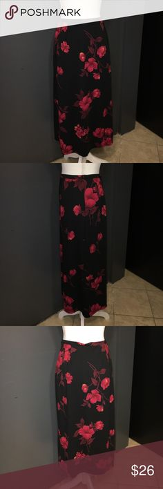 """Black & Red Floral Print Skirt Gorgeous floral Print decorated this skirt. Pleats in the right places give it a perfect fit. 32"""" from waist to hem, 13"""" across waist. Requirements Petite Skirts Midi"""