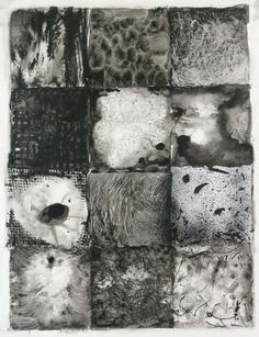 Value studies by Jane Davies of Collage Journeys, using India ink on Yupo paper.