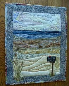 Landscape Quilt Patterns Free to Print Ocean Quilt, Beach Quilt, Landscape Art Quilts, Fabric Postcards, Textiles, Art Textile, Folk Embroidery, Quilted Wall Hangings, Quilt Patterns Free