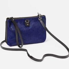 Calf hair convertible cross body purse Never worn, royal blue color, removable cross-body strap, doubles as a wristlet GAP Bags Crossbody Bags