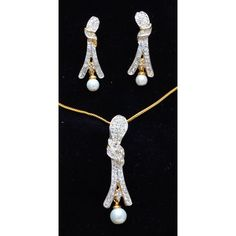 CZ studded two tone white & gold plated pendent set with white pearl drops  - Online Shopping for Necklaces by Ami Designs