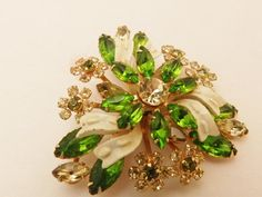 Vintage Green Rhinestone Brooch by TheJewelryCabinet on Etsy