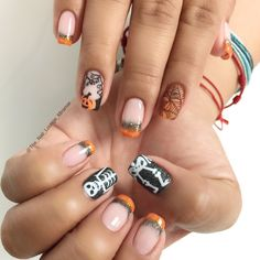 Skeleton pumpkin Halloween nail art design
