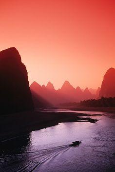 Sunset at Li River near Yangshuo , #China