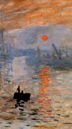 Claude Monet:  Impression, Sunrise(1873)Detail Famous Paintings Monet, Famous Impressionist Paintings, Degas Paintings, Famous Artwork, Impressionist Art, Monet Wallpaper, Sunrise Wallpaper, Painting Wallpaper, Sunrise Painting
