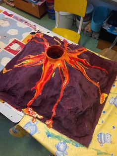 Dit is een vulkaan. Ik wil namelijk graag op het hoofd een vulkaan maken die uitbarst. Want uitbarsting hoort bij boos.
