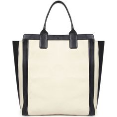 Chloé Alyson Leather Tote (1,510 PEN) ❤ liked on Polyvore featuring bags, handbags, tote bags, purses, white and black, leather tote, leather handbag tote, leather handbags, leather man bags and handbags totes