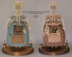 THE LADIES HOME SEWING COMPANION - A PINCUSHION DOLL  A doll sewing caddy/pincushion taken from antique ones (the concept), a cookie cutter woman I love from an antique collection (the outline) and antique paper doll styles of the late 1800's (the underwear look). Body outlines, hair and face designs are silkscreened on to body fabric, but you can use the paper patterns included to make more dolls. There is not much machine work as most of the doll is finished by hand. Her arms will be drawn…