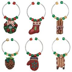 $7.99-$7.99 The Boston Warehouse set of 6 Country Christmas Wine Charms provides an interesting solution to an entertaining dilemma. The 1/2-Inch, hand painted charms on metal rings, allow guests to identify their wine glass when attached to the stem of the glass. Unique charms and clever designs make your party a hit. From Boston Warehouse - creative ideas for home entertaining.