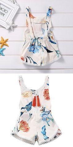 Newborn Baby Girls Ethnic Style Sleeveless Tassels Backless Floral Romper(18-24months, White)