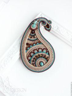 Soutach oriental brooch | Купить Сутажная брошь Пейсли. Восточный стиль бирюзовый коричневый - брошь пейсли, восточный узор
