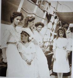 Olga, Tatiana, Maria, Anastasia and Alexei (OTMAA) aboard the ship Standart, c. 1912
