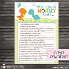 Dinosaur Who Knows Mommy's Best Printable Game by stockberrystudio