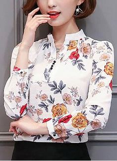 Fleece-lined Floral Long Sleeve Casual Blouse Blouse Styles, Blouse Designs, Travel Clothes Women, Plus Size Blouses, Work Attire, Blouses For Women, Ideias Fashion, Casual, Sleeves