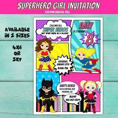 Superhero Girl Birthday Party Invitation. Super Hero Girl