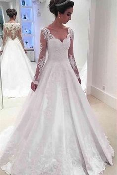 Newest A Line Long Sleeve Wedding Dress 2017 Lace Appliques Dresses High Quality Prom