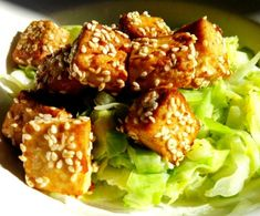 Baked tofu with sesame marinade.