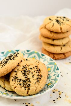 Tahini and black sesame cookies