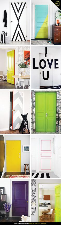 why not paint yourself some colour block statement doors to add zing to your contemporary minimalist art led interior theme What started with a color direction, turned into a pretty serious theme at I SPY DIY studio: Black &. I Spy Diy, Diy Home Decor, Room Decor, Sweet Home, Diy Casa, Painted Doors, Home And Deco, Home Projects, Interior Design