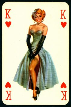 Pin Up Playing Card - King of Hearts Unique Playing Cards, Vintage Playing Cards, Pin Up Tattoos, Trendy Tattoos, Pin Up Mermaid, Mermaid Pinup, Pin Up Illustration, Illustrations, Mermaid Tattoos