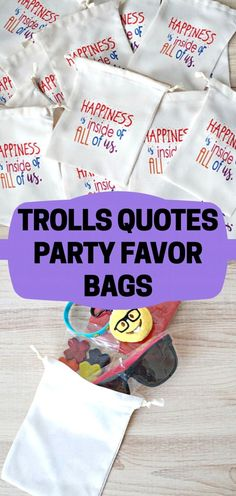 These are the perfect party favors for our Trolls birthday party! The cute Trolls movie quotes are awesome and there is just enough room for our party treats. Great idea! #etsy #ad #trolls #partyfavor
